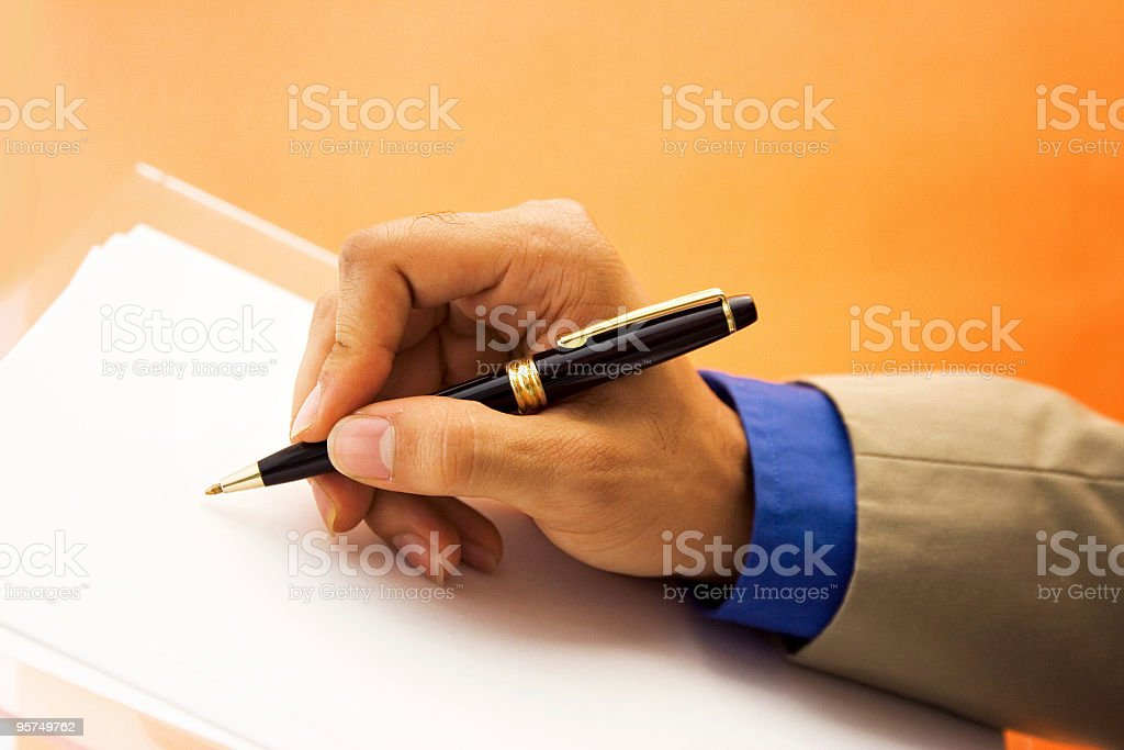 Writing businessman royalty-free stock photo