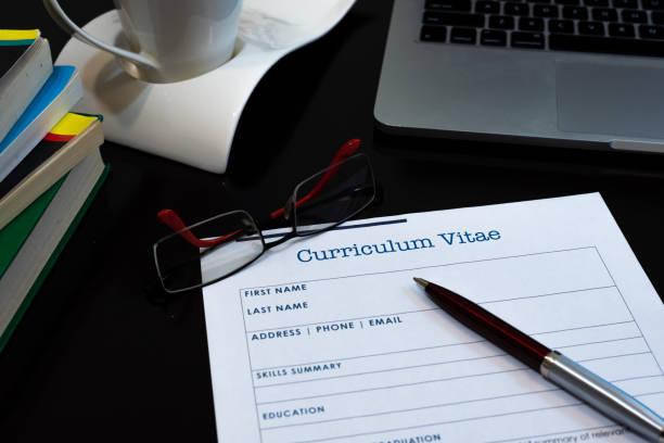 Writing curriculum vitae stock photo