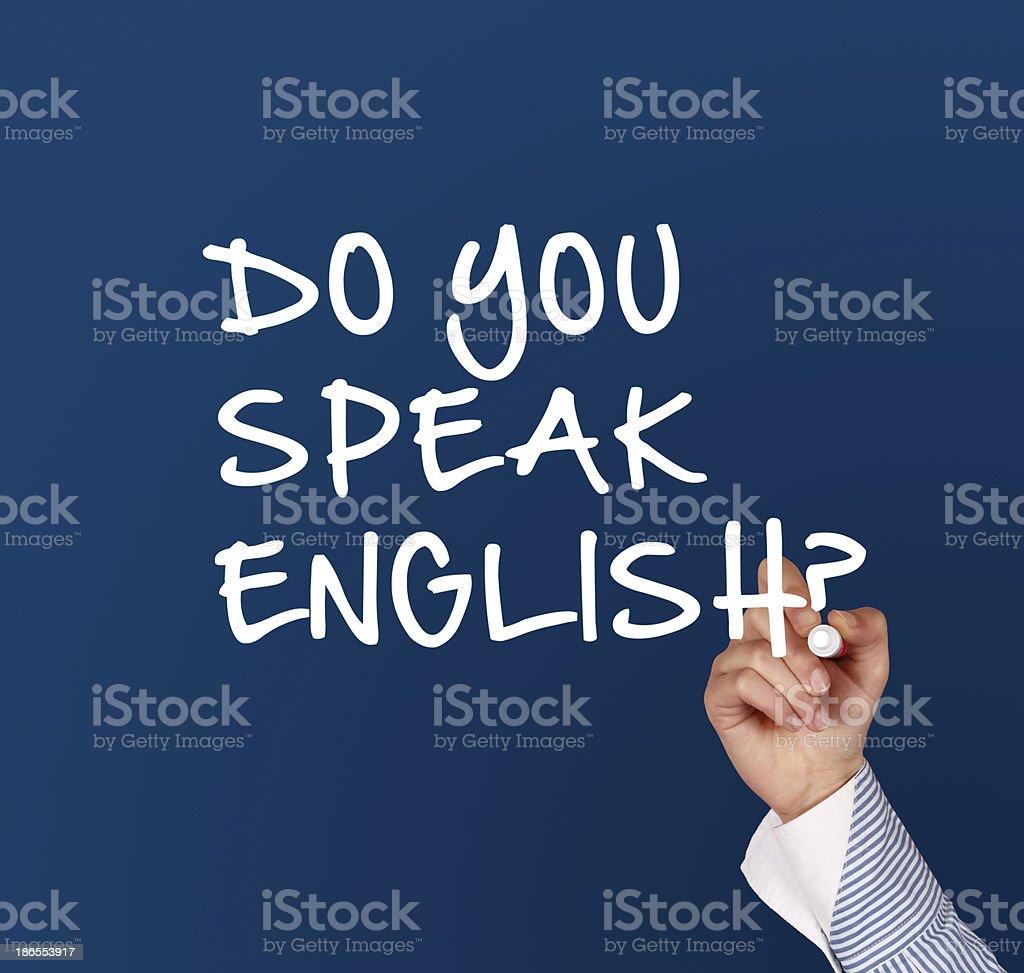 Writing do you speak english stock photo