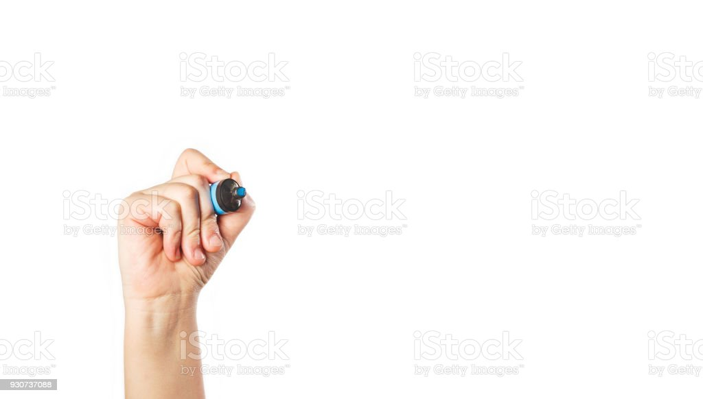 Writing, drawing hand with blue felt tip pen on white isolated background. Business presentation.Dont give up. royalty-free stock photo