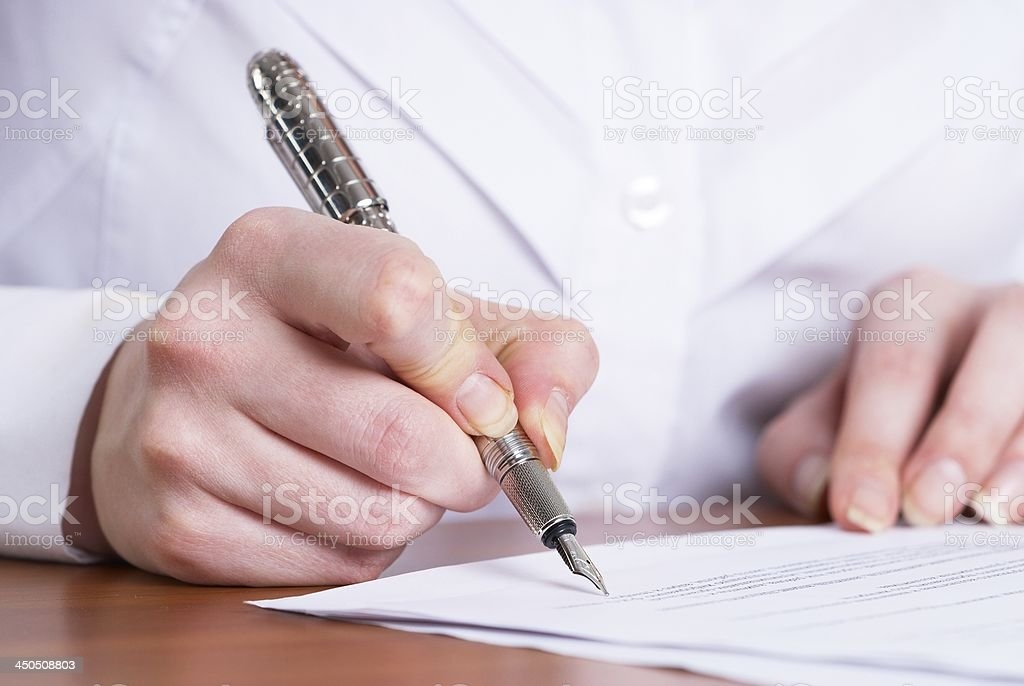 Writing girl stock photo