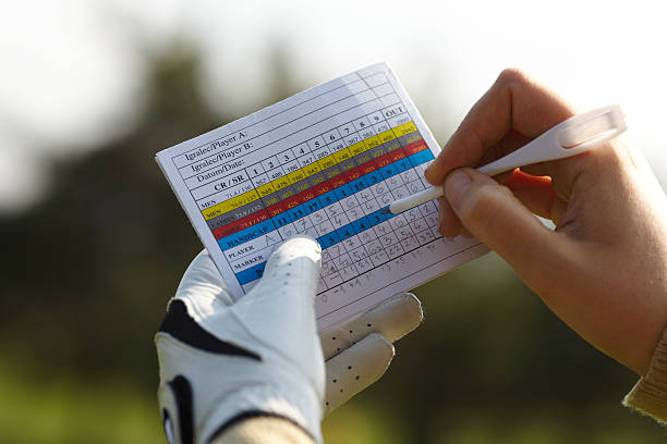writing golf handicap - scoring stock photos and pictures