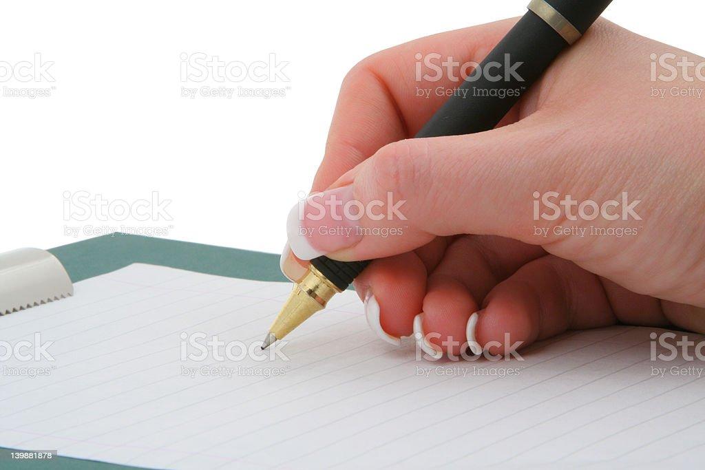 writing hand royalty-free stock photo