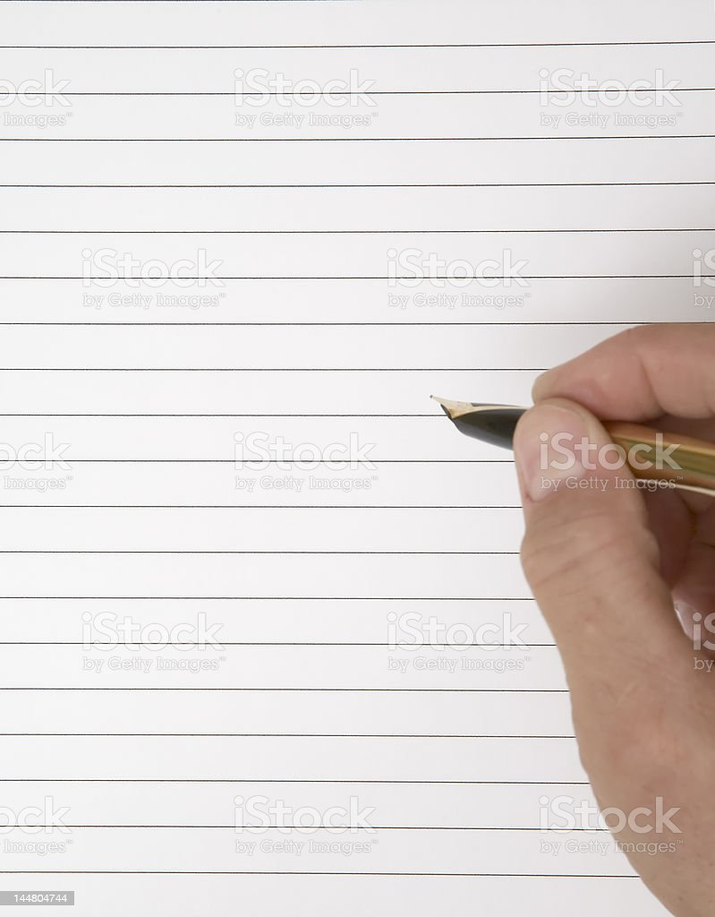 Writing Hand With Fountain Pen royalty-free stock photo
