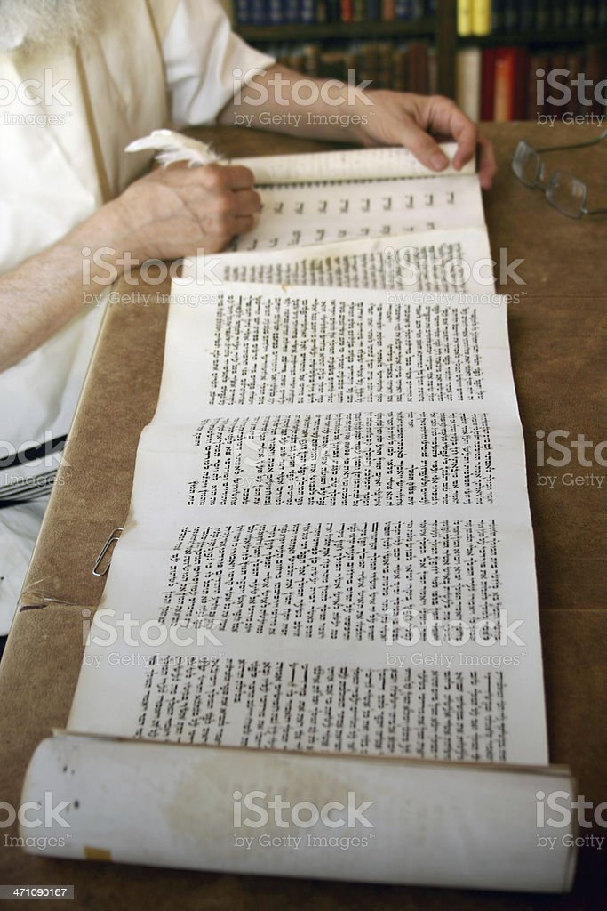 Writing in a scroll stock photo