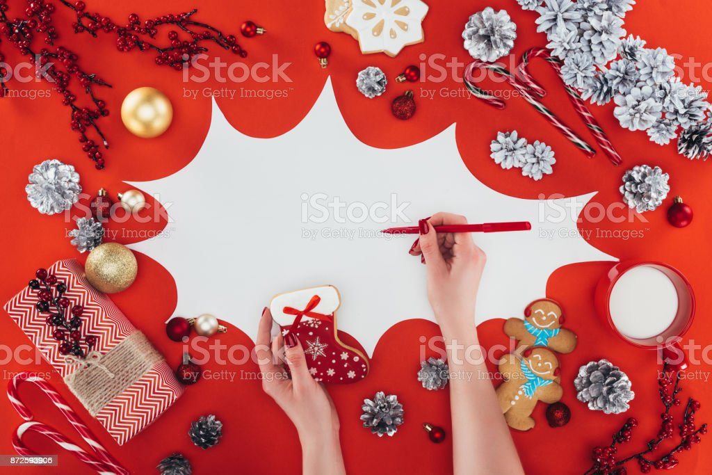 writing in speech bubble at christmas stock photo