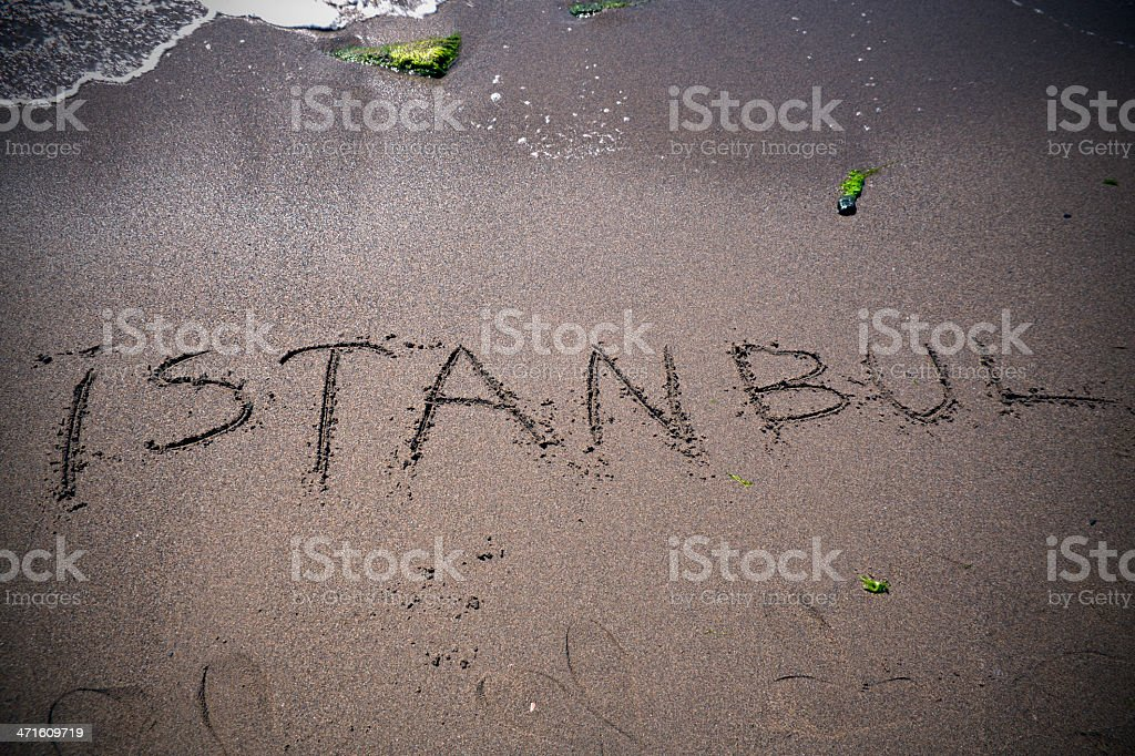 Writing Istanbul At The Sands royalty-free stock photo