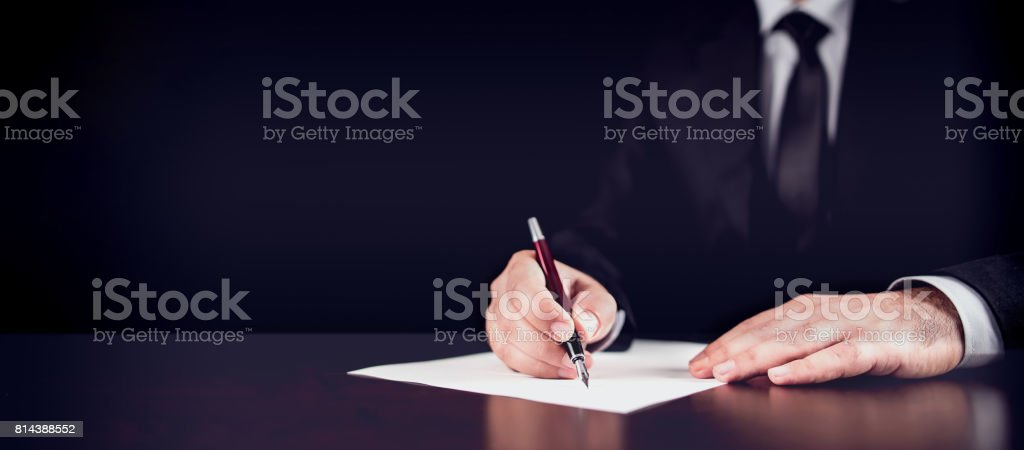 Writing Legal Document stock photo