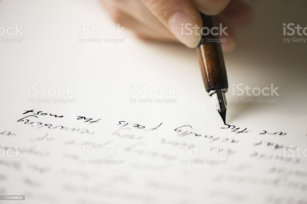 Writing letter to a friend stock photo