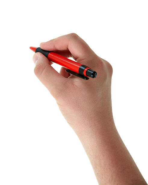 Writing male hand with red pen on white stock photo