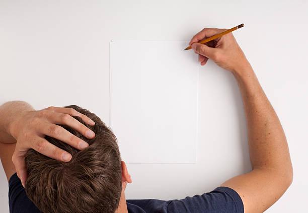 Writing man stock photo