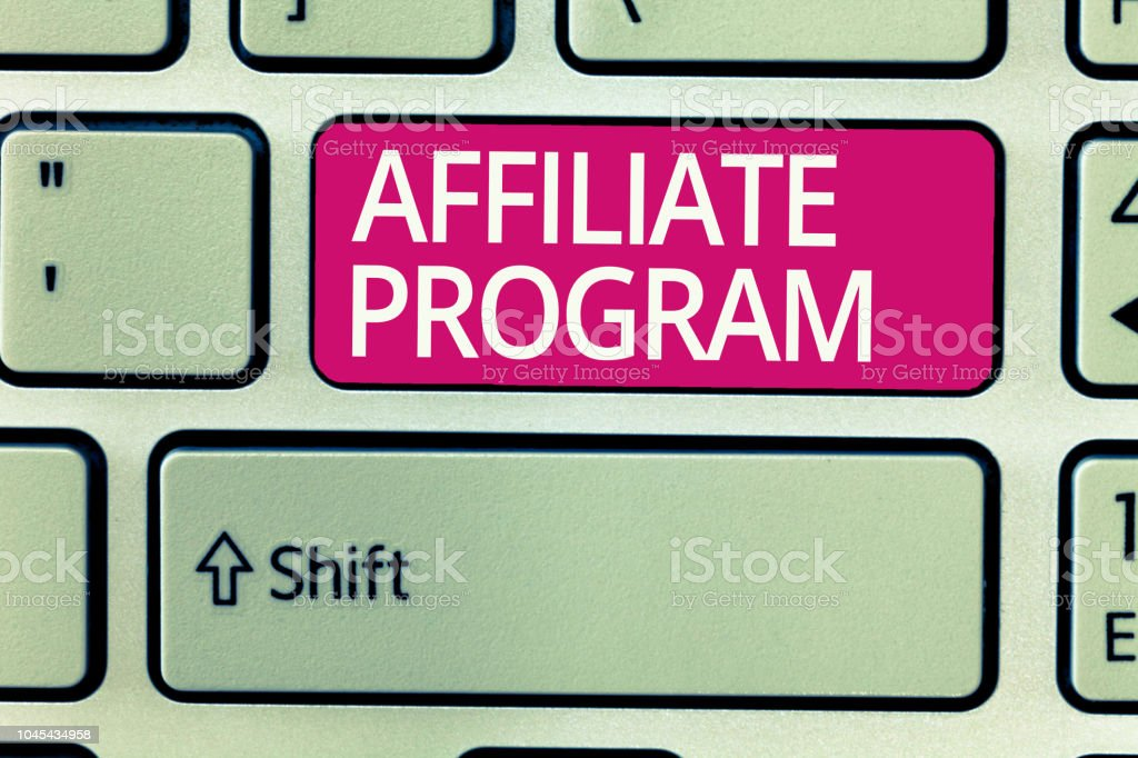 Writing note showing Affiliate Program. Business photo showcasing Automated platform of two or more parties Associated stock photo