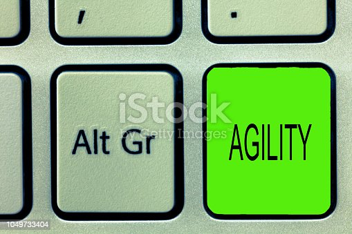 1161501551 istock photo Writing note showing Agility. Business photo showcasing Ability to move think understand quickly and easily Fast development 1049733404