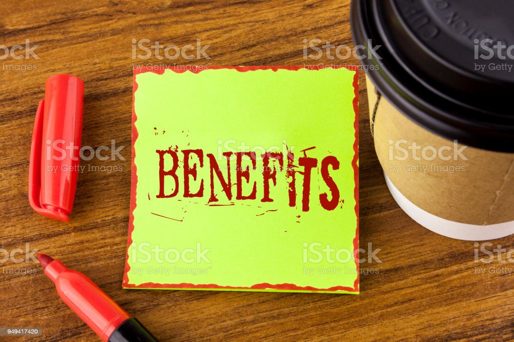 Writing note showing  Benefits. Business photo showcasing hike in allowance for senior employees of the company written on Sticky Note Paper on wooden background Marker Cup next to it stock photo