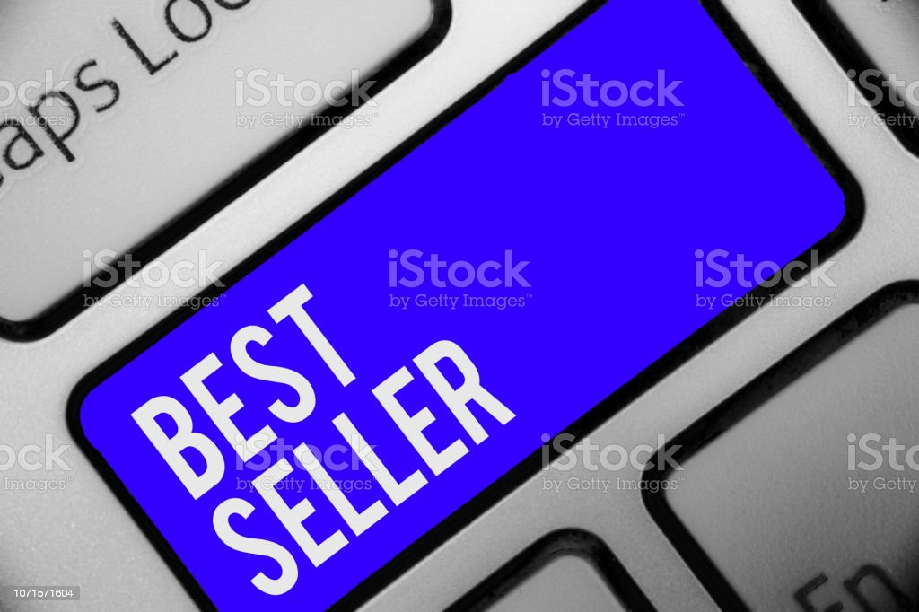 Writing note showing Best Seller. Business photo showcasing book or other product that sells in very large numbers Keyboard blue key Intention computer computing reflection document. stock photo