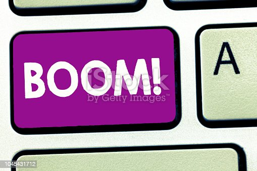 istock Writing note showing Boom. Business photo showcasing Loud Deep resonant sound Sudden economic growth Abrupt Expansion 1045431712