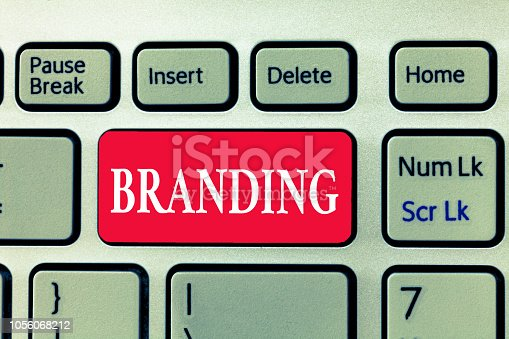 istock Writing note showing Branding. Business photo showcasing Assign brand name to something Business marketing strategy 1056068212