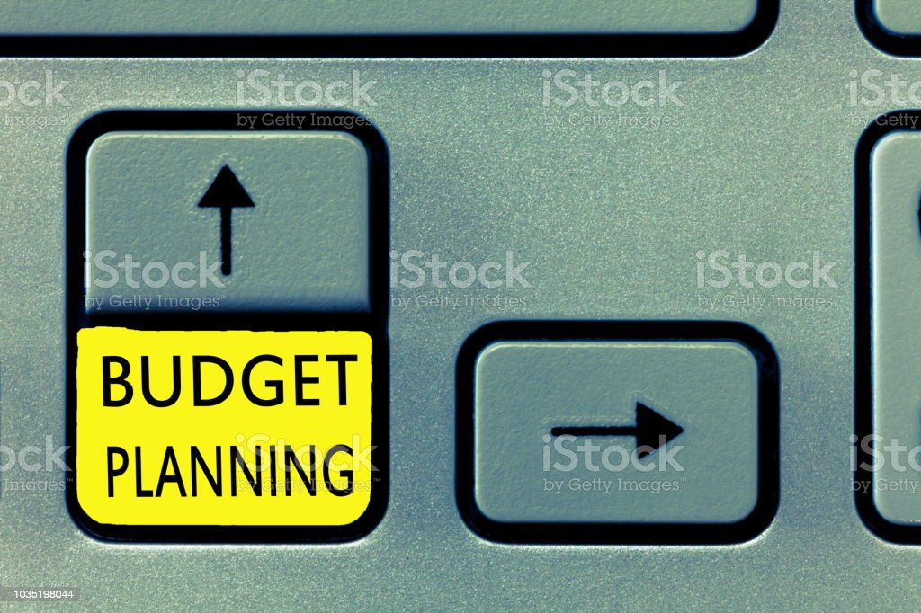 Writing note showing Budget Planning. Business photo showcasing The written description about current and future expenses stock photo