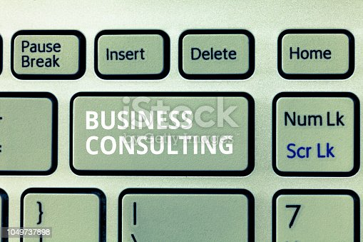 istock Writing note showing Business Consulting. Business photo showcasing Blends Practice of Academic Theoretical Expertise 1049737898