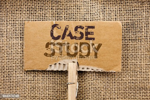 Writing note showing  Case Study. Business photo showcasing Research Information Analysis Observe Learn Discuss Criteria written Cardboard Piece Holding By Clip the jute background.