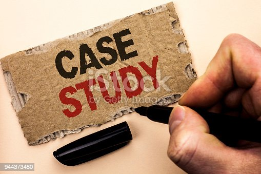 Writing note showing  Case Study. Business photo showcasing Research Information Analysis Observe Learn Discuss Criteria written by Man Holding Marker tear Cardboard Piece Plain Background.