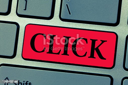 istock Writing note showing Click. Business photo showcasing Act of pressing a button on a mouse similar device Sharp short sound 1045433196