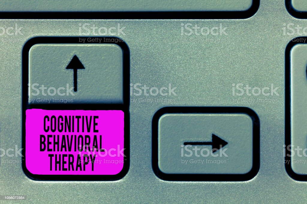 Writing note showing Cognitive Behavioral Therapy. Business photo showcasing Psychological treatment for mental disorders stock photo