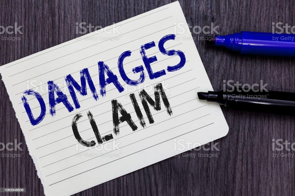Writing Note Showing Damages Claim Business Photo Showcasing