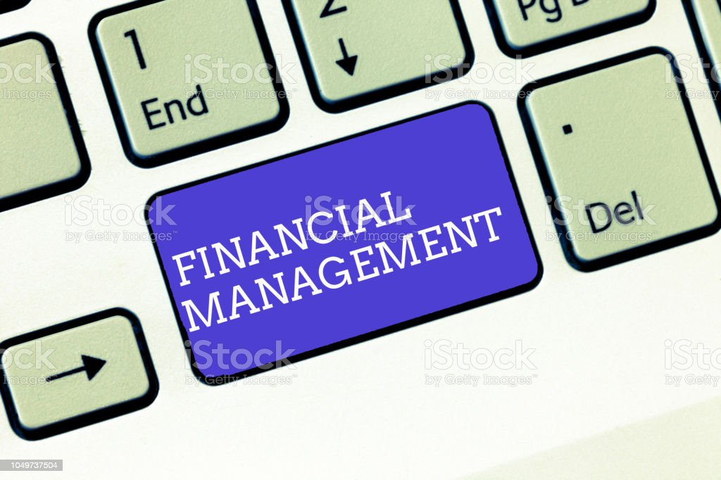 Writing note showing Financial Management. Business photo showcasing efficient and effective way to Manage Money and Funds stock photo