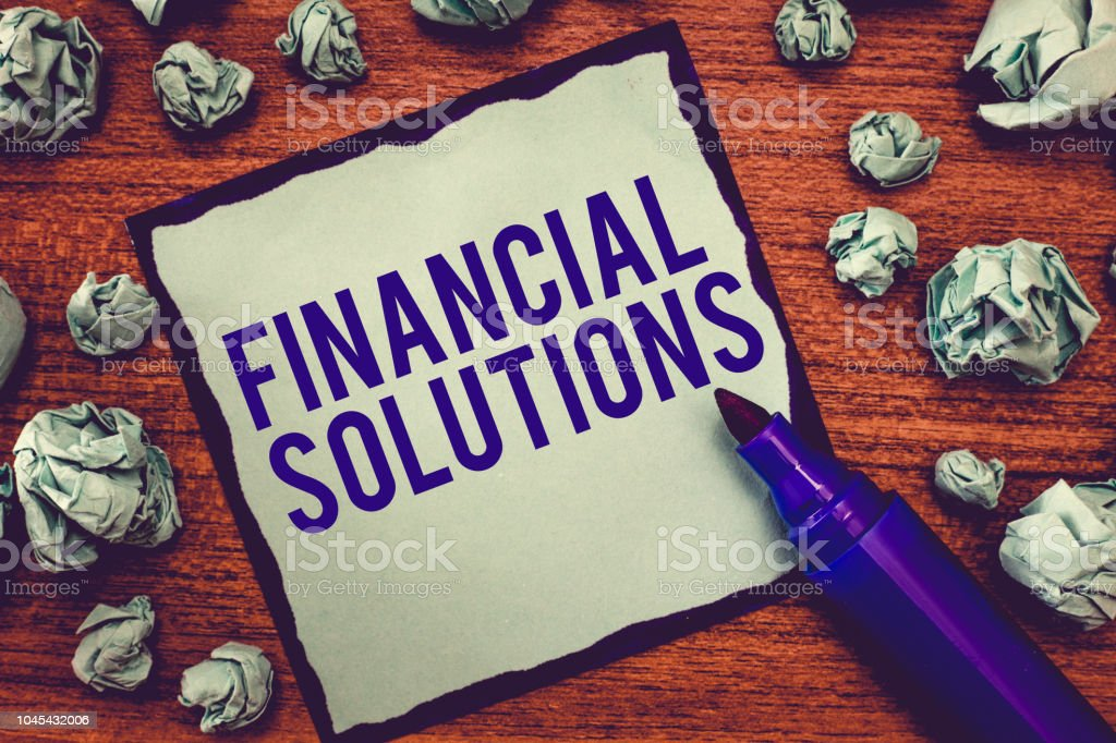 Writing note showing Financial Solutions. Business photo showcasing to Save Money on Insurance and Protection Needs stock photo