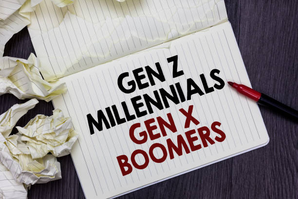 Writing note showing Gen Z Millennials Gen X Boomers. Business photo showcasing Generational differences Old Young people Marker over notebook crumpled papers pages several tries mistakes. stock photo