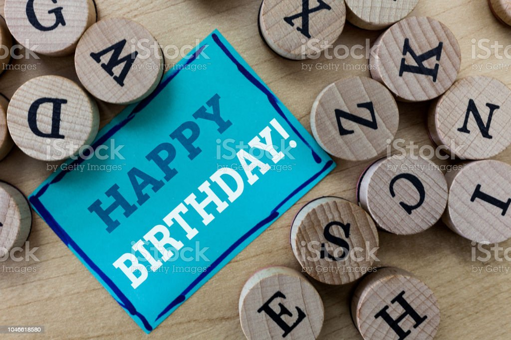 Writing note showing Happy Birthday. Business photo showcasing The birth anniversary of a person is celebrated with presents stock photo