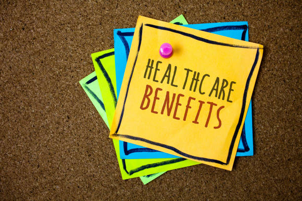 Writing note showing  Healthcare Benefits. Business photo showcasing it is insurance that covers the medical expenses Papers beautiful colours messages feelings card birthday valentine. stock photo