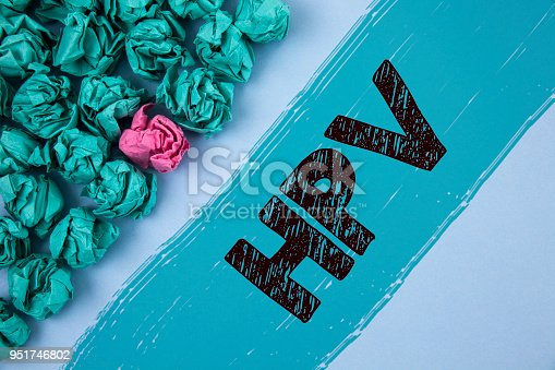 istock Writing note showing  Hpv. Business photo showcasing Human Papillomavirus Infection Sexually Transmitted Disease Illness written on Painted background Crumpled Paper Balls next to it. 951746802
