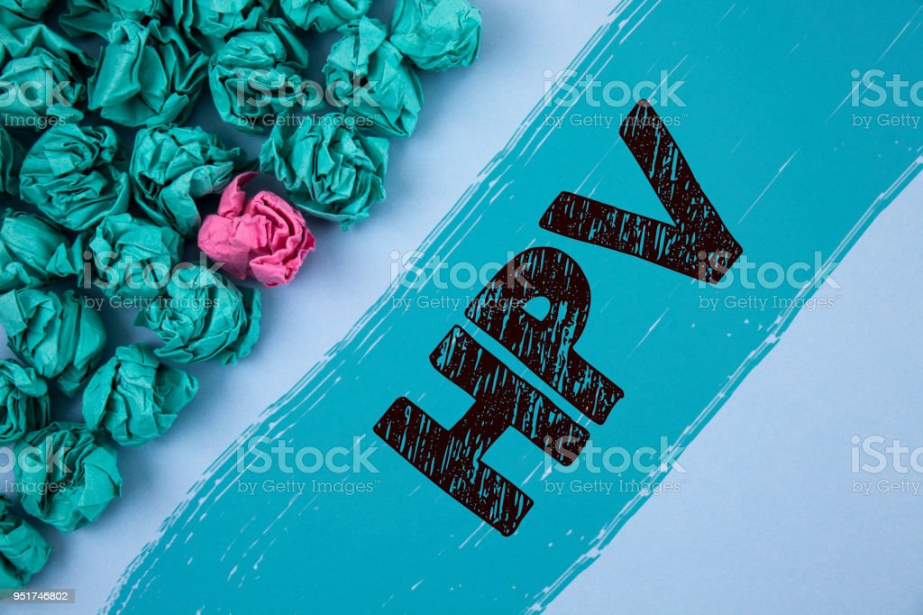 Writing note showing  Hpv. Business photo showcasing Human Papillomavirus Infection Sexually Transmitted Disease Illness written on Painted background Crumpled Paper Balls next to it. stock photo