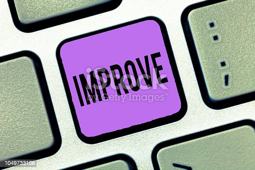 istock Writing note showing Improve. Business photo showcasing Make become better Development increase capacities Grow Change 1049733106
