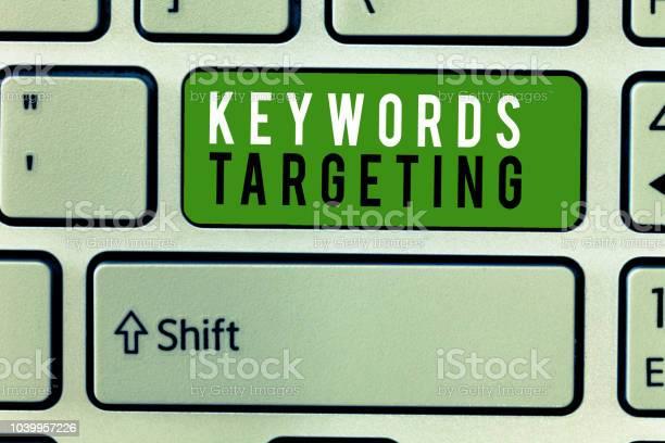 Writing note showing keywords targeting business photo showcasing use picture id1039957226?b=1&k=6&m=1039957226&s=612x612&h=gthy  zgbotjwozii0q7snwedmncky jvpoyv2 04dq=