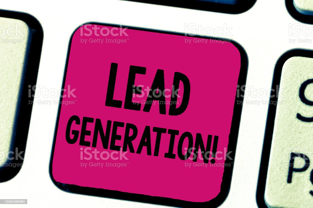 Writing note showing Lead Generation. Business photo showcasing initiation of consumer interest or enquiry into products stock photo