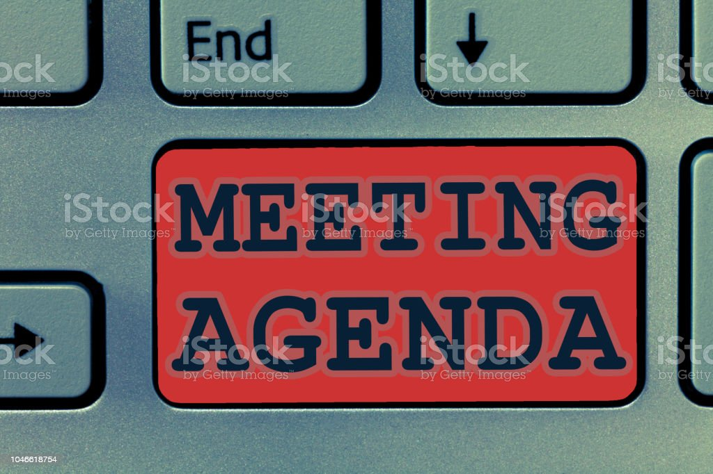Writing note showing Meeting Agenda. Business photo showcasing An...