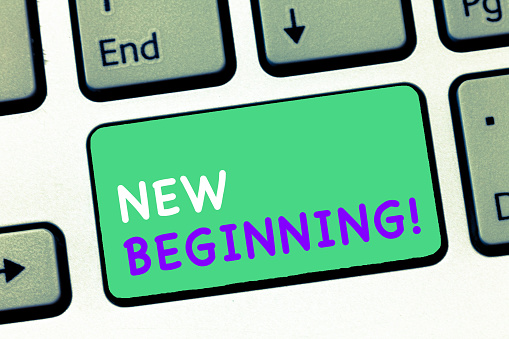 istock Writing note showing New Beginning. Business photo showcasing Different Career or endeavor Starting again Startup Renew 1063948412