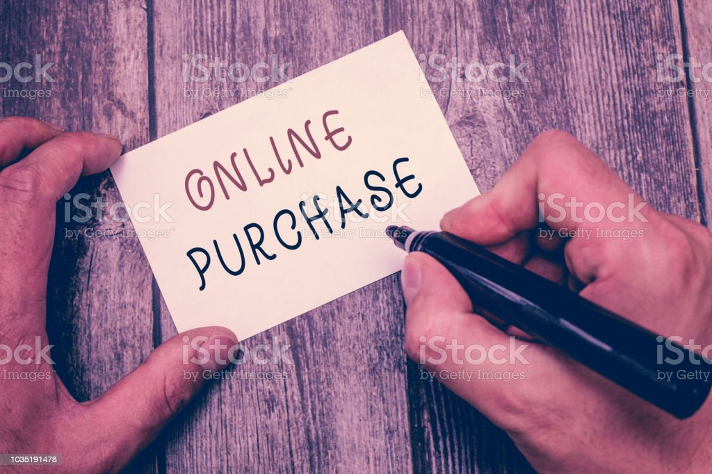 Writing note showing Online Purchase. Business photo showcasing Purchases electronic commerce goods from over the Internet stock photo