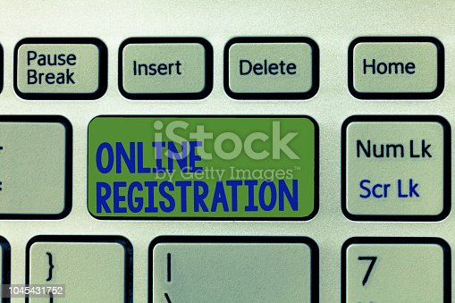 istock Writing note showing Online Registration. Business photo showcasing Process to Subscribe to Join an event club via Internet 1045431752