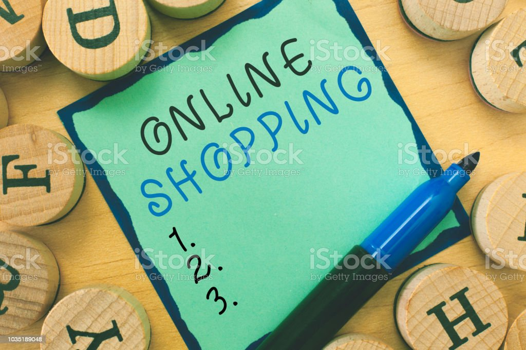 Writing note showing  Online Shopping. Business photo showcasing allows consumers to buy their goods over the Internet stock photo