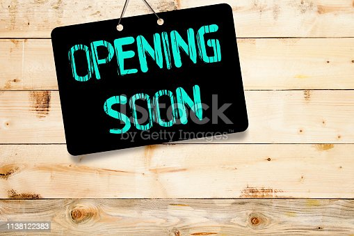 istock Writing note showing Opening Soon 1138122383