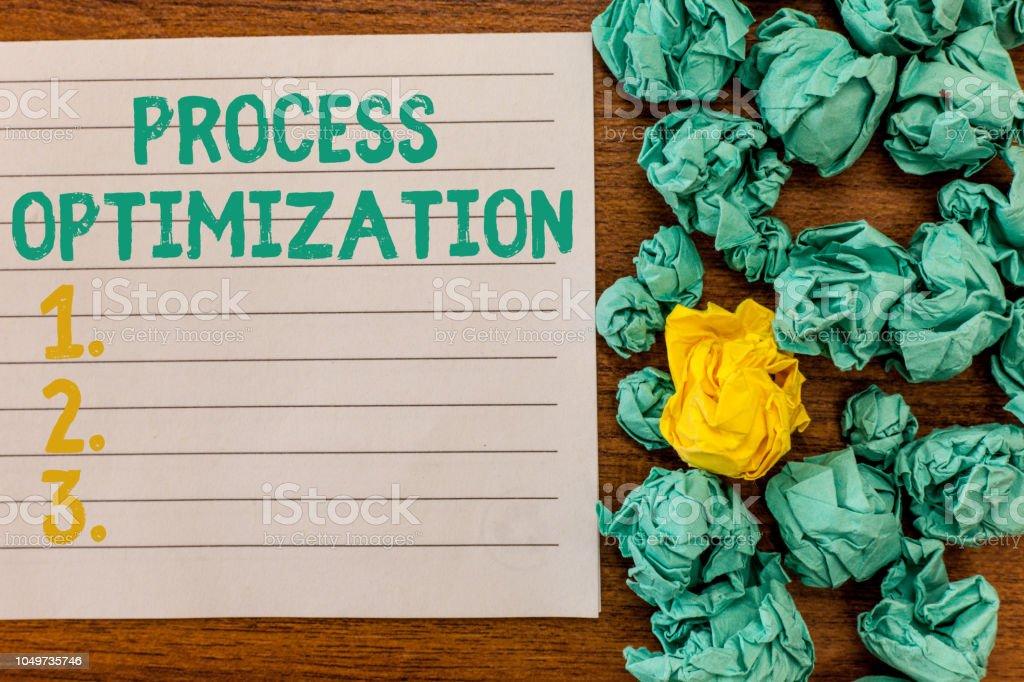 Writing note showing Process Optimization. Business photo showcasing Improve Organizations Efficiency Maximize Throughput stock photo