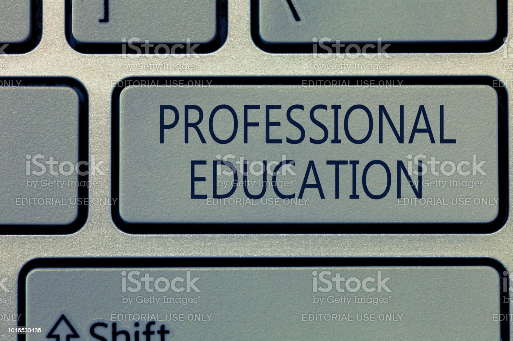 Writing note showing Professional Education. Business photo showcasing Continuing Education Units Specialized Training stock photo