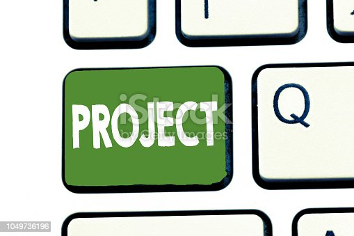 istock Writing note showing Project. Business photo showcasing Planned work activity Study of particular subject Creative job 1049736196