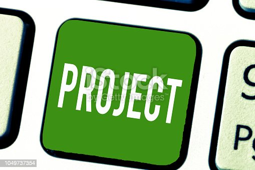 istock Writing note showing Project. Business photo showcasing Planned work activity Study of particular subject Creative job 1049737354