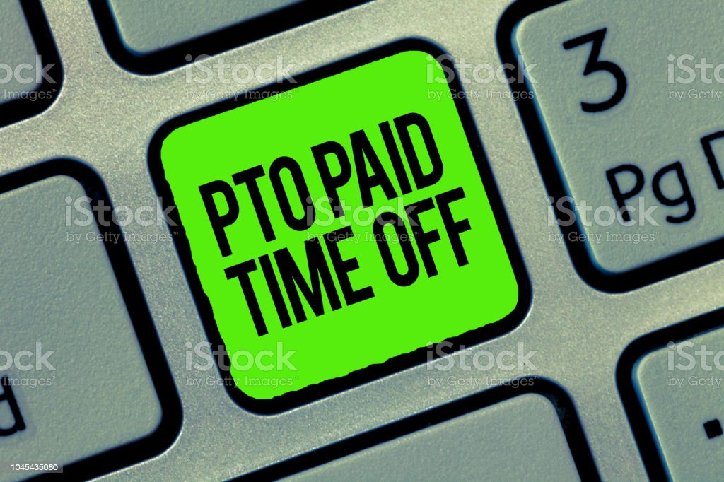 Writing note showing Pto Paid Time Off. Business photo showcasing Employer grants compensation for personal leave holidays stock photo