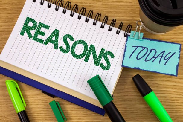 writing note showing  reasons. business photo showcasing causes explanations justifications for an action or event motivation written on noteoad on wooden background today cup pen marker next to it - deductive stock pictures, royalty-free photos & images